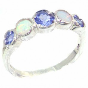 Sterling Silver Natural Tanzanite & Fiery Opal Womens Right Hand Ring