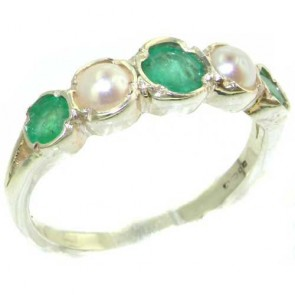 Sterling Silver Natural Emerald & Pearl Womens Eternity Ring