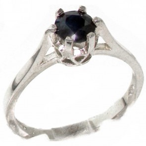 Sterling Silver Genuine Natural Sapphire Solitaire Ring