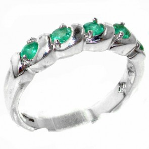 Sterling Silver Vibrant Green Natural Emerald Eternity Ring