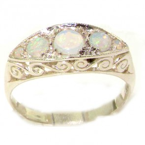 Carved Sterling Silver Natural Fiery Opal Ring