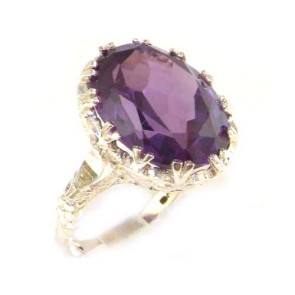 Sterling Silver Large 16x12mm Oval 12ct Synthetic Alexandrite Ring