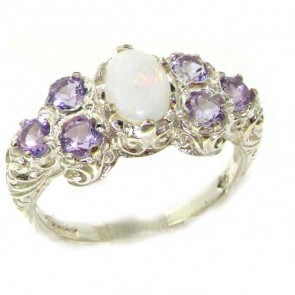 Sterling Silver Ladies Large Opal & Amethyst Art Nouveau  Ring