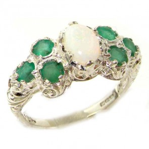 Sterling Silver Ladies Large Opal & Emerald Art Nouveau  Ring
