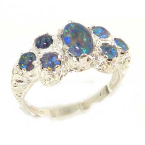 Sterling Silver Ladies Large Opal Eternity Band Ring