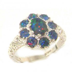 Sterling Silver Ladies Large Opal Cluster Ring