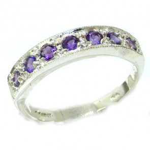 9ct White Gold Ladies Natural Amethyst Eternity Band Ring