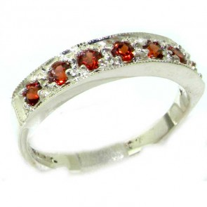 Sterling Silver Ladies Natural Garnet Eternity Band Ring