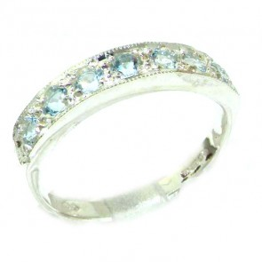 Sterling Silver Ladies Natural Aquamarine Eternity Band Ring