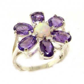 Sterling Silver Ladies Large Fiery Opal & Amethyst Flower Ring