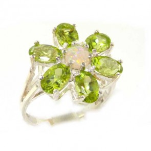 Sterling Silver Fiery Opal & Peridot Ring