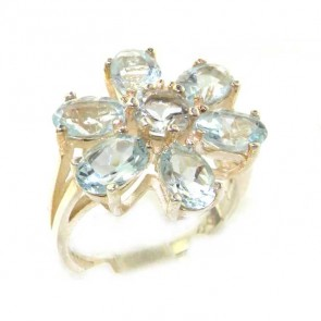 Sterling Silver Ladies Large Natural Aquamarine Flower Ring