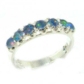 Sterling Silver Ladies Colorful Opal Vintage Style Eternity Band Ring