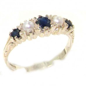 Antique Style Sterling Silver Natural Sapphire & Pearl Ring