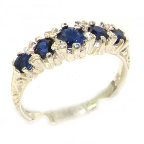 Antique Style Sterling Silver Natural Sapphire Ring