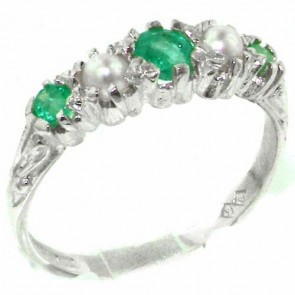 Sterling Silver Natural Emerald & Pearl Ring