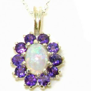 9ct White Gold Ornate Vibrant Natural Opal & Amethyst Marquise Pendant Necklace