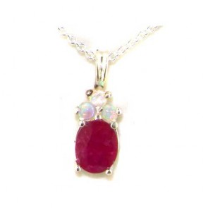 9ct White Gold Natural Ruby and Opal Contemporary Pendant Necklace