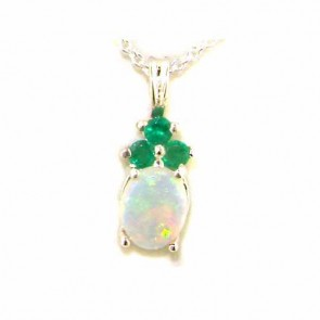 9ct White Gold Natural Opal and Emerald Contemporary Pendant Necklace