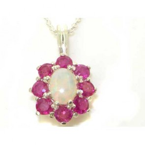 9ct White Gold Ornate Large Natural Fiery Opal and Ruby Cluster Pendant Necklace
