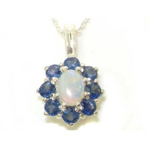 Sterling Silver Ornate Large Natural Fiery Opal and Sapphire Cluster Pendant Necklace
