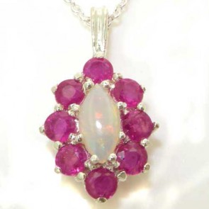 Sterling Silver Natural Opal & Ruby Cluster Pendant Necklace