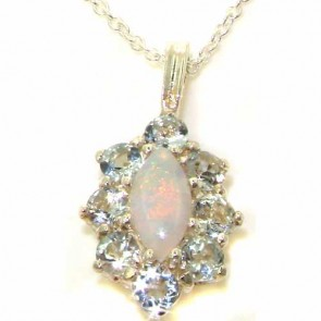 9ct White Gold Natural Opal & Aquamarine Cluster Pendant Necklace