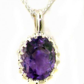 Sterling Silver Large 14X10mm Amethyst Vintage Pendant Necklace