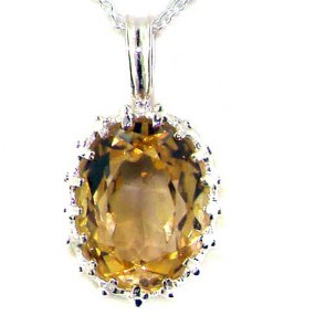 9ct White Gold Citrine Vintage Pendant Necklace