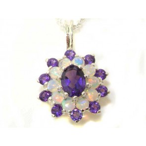 9ct White Gold Ornate Large Vibrant Natural Amethyst & Opal 3 Tier Large Cluster Pendant Necklace
