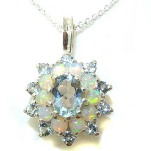 9ct White Gold Ornate Large Vibrant Natural Aquamarine & Opal 3 Tier Large Cluster Pendant Necklace
