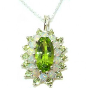 9ct White Gold Natural Large Peridot & Opal 3 Tier Cluster Pendant Necklace