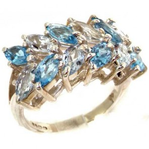Sterling Silver Natural Vibrant Aquamarine & Blue Topaz Womens Right Hand Ring