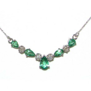 9ct White Gold Emerald & Diamond Lavaliere Necklace