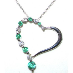 9ct White Gold Emerald & Diamond Pendant & Chain Heart Necklace