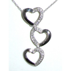 9ct White Gold Three Hearts Diamond Pendant & Chain Necklace
