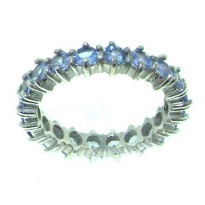 9ct White Gold Ladies Tanzanite Full Eternity Ring