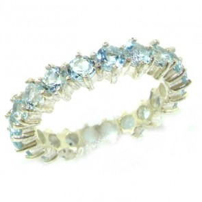 9ct White Gold Aquamarine Full Eternity Ring