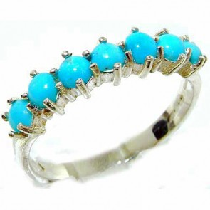 14K White Gold Womens Turquoise Anniversary Eternity Ring
