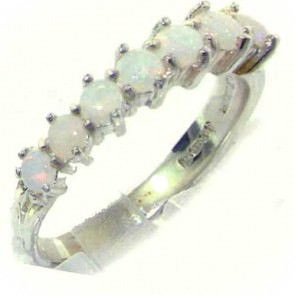 Sterling Silver Natural Opal Eternity Ring
