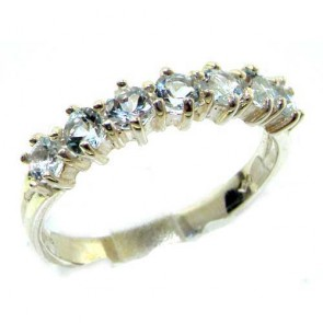 Sterling Silver Aquamarine Eternity Ring