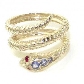 9K White Gold Tanzanite & Ruby Snake Ring