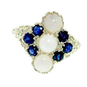 9ct White Gold Opal & Sapphire Ring