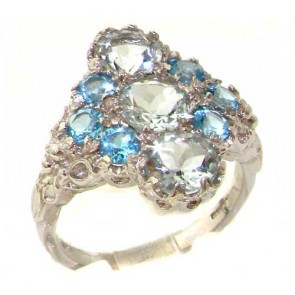 9ct Gold Aquamarine & Blue Topaz Ring