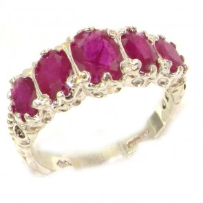 14K White Gold AAA Quality Ruby Ring