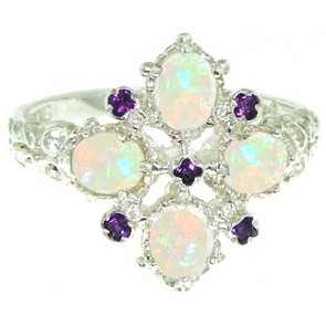 9ct White Gold Amethyst & Fiery Opal Ring