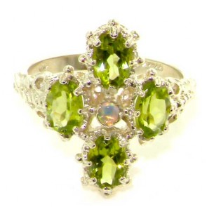 9ct White Gold Opal & Peridot Ring