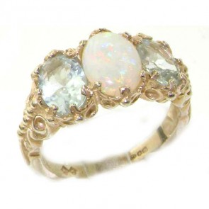 9ct White Gold Fiery Opal & Aquamarine Ring