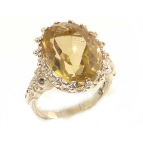 9ct White Gold Large Citrine Ring