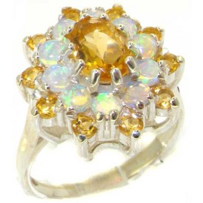 Elegant 9ct White Gold Golden Citrine & Opal Ring